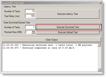 Executing a download test