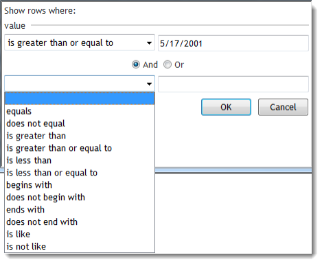 Filters to create a search criterion select an operator from the drop down box and enter a value in the textbox you can connect two search criteria with the and sciox Images