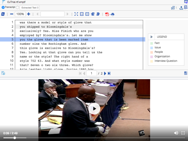 Watch Key Footage in the Transcripts Application